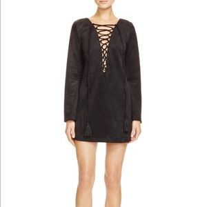 Olivaceous Black Lace- Up Faux Suede Dress  L
